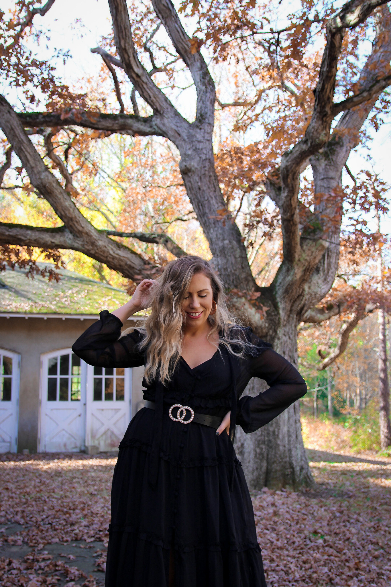 Long Black Sheer Dress Fall Photoshoot in New York | Fall Foliage | Westchester County NY Merestead