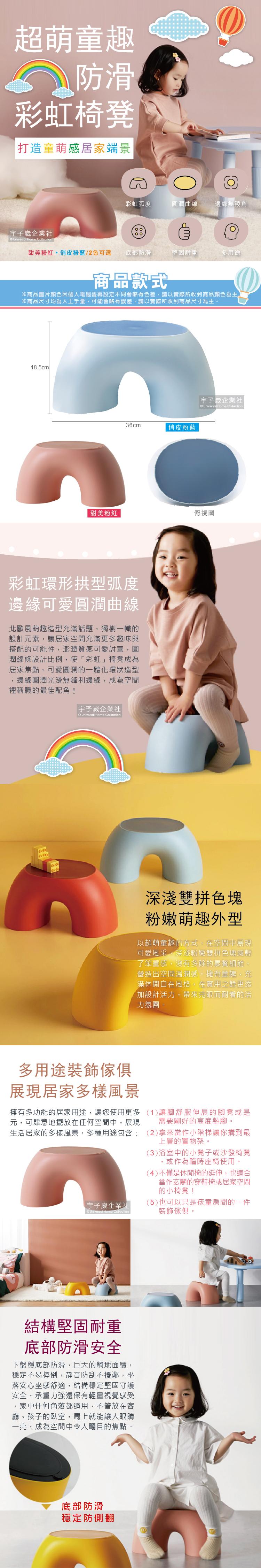 超萌童趣防滑彩虹椅凳介紹圖