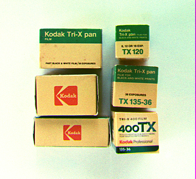 Tri-X boxes on Tri-X B&W film