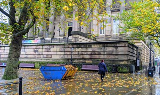 Big ugly skip in front of the Harris Museum to collect fallen leaves | by Tony Worrall