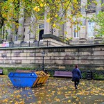 Big ugly skip in front of the Harris Museum to collect fallen leaves