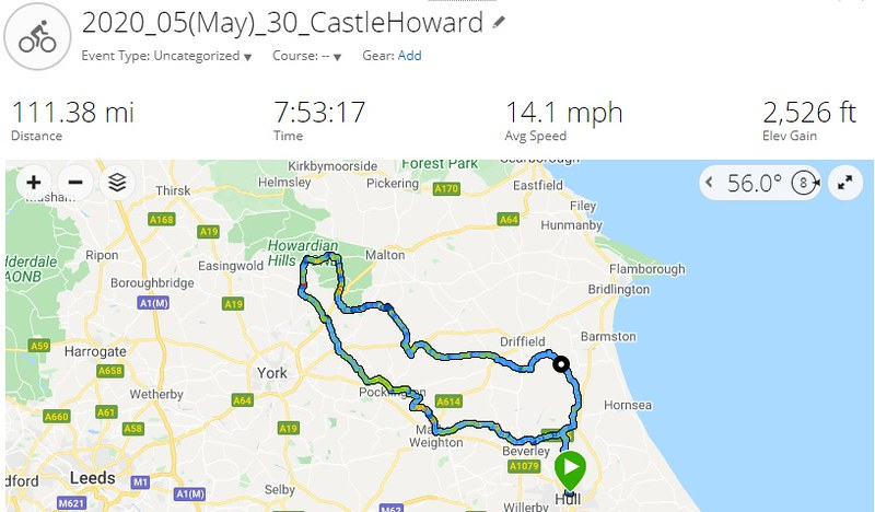 Castle Howard Garmin Connect Route Yorkshire Wolds May 2020