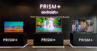 "New Prism+ Q-series Android TVs launched in Singapore (from left): 55"", 75"", 65""."