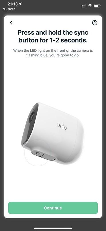 Arlo iOS App - Setup - Press & Hold Sync