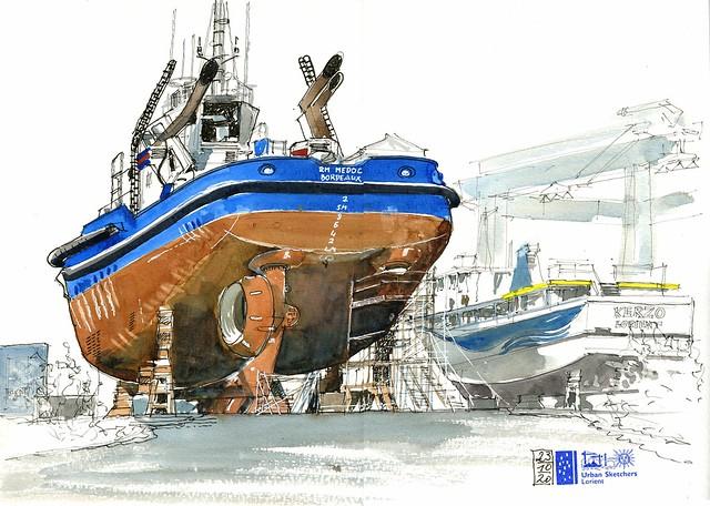 Lorient - Aire de réparation navale - le remorqueur RM Médoc