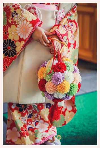 七五三 ママ手作りの花球