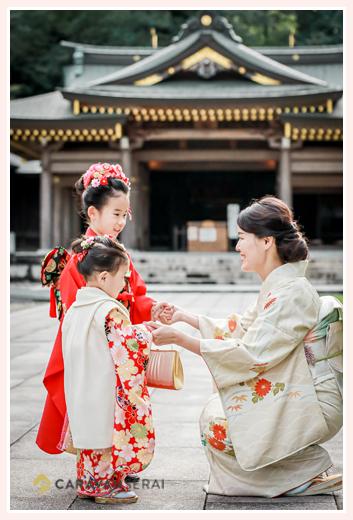 岐阜護国神社で七五三 姉妹とママ みんな衣装はお着物