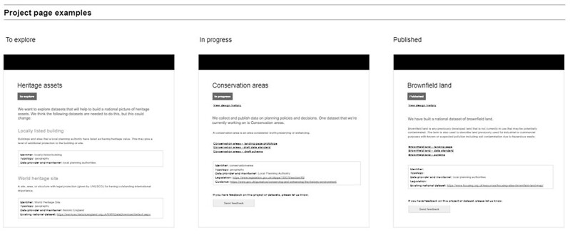 Project page prototype screenshots
