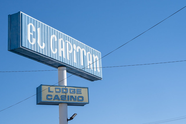 Hawthorne, Nevada - July 13, 2019: Close up of the El Capitan Lodge and Casino. The motel is owned by Travelodge by Wyndham