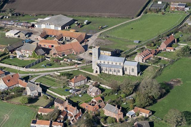 Wighton All Saints Church aerial image - Norfolk