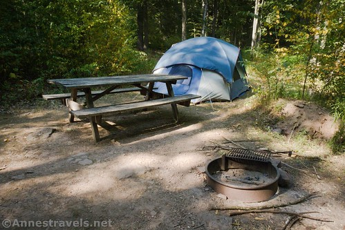 Picnic table, fire ring, and our tent in our campsite in Tiadaghton State Forest, Pennsylvania