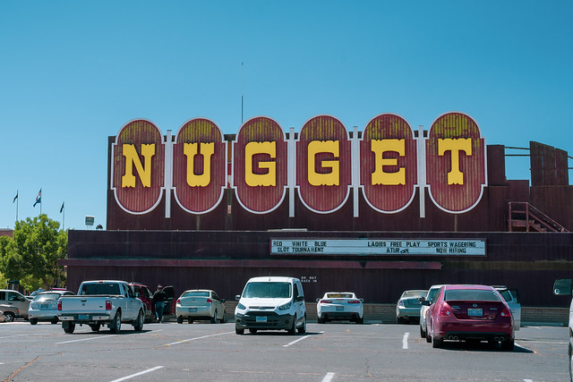 Fallon, Nevada - July 13, 2019: Exterior of the Nugget casino, known for its large retro vintage neon sign