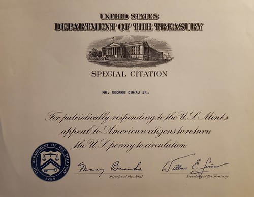 1970s Penny Shortage Treasury Sepcial Citation Certificate
