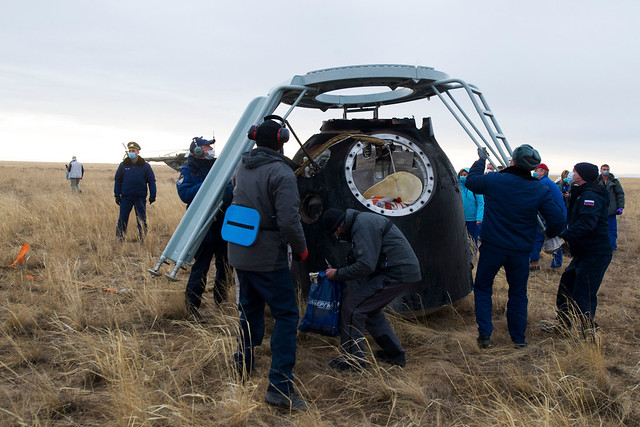 Support personnel arrive at the Soyuz MS-16 spacecraft landing site
