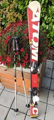 Dětské lyže Atomic raceX 110cm délky a  hůlky  85c - titulní fotka