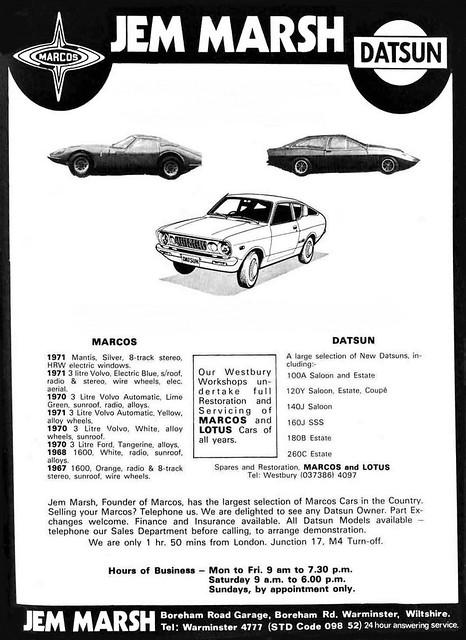 1975 ADVERT - JEM MARSH - DATSUN / MARCOS CAR DEALERS WILTSHIRE