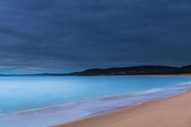 Overcast and threatening rain sunrise seascape