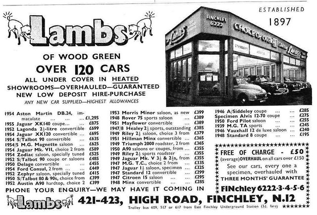 1959 ADVERT - LAMBS CAR SALES OF WOOD GREEN - HIGH ROAD FINCHLEY LONDON