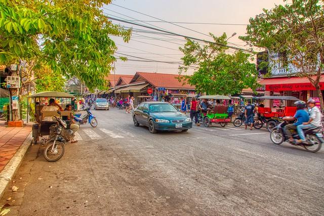 Evening street scene in Siem Reap, Cambodia