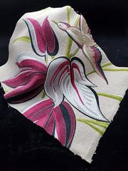 Vintage 1940's Bird and Leaf Patterned Barkcloth Piece