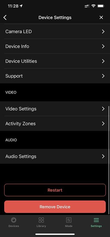 Arlo iOS App - Device Settings #2