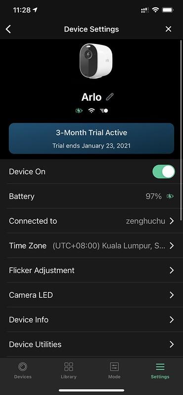 Arlo iOS App - Device Settings #1