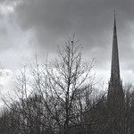 Tall spire of St Walburge's church in Preston