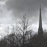 Tall spire of St Walburge's church in Preston