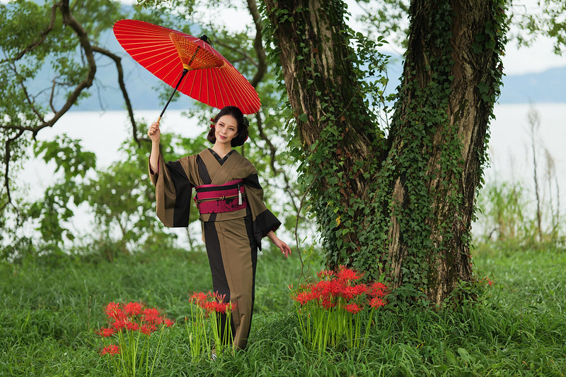 A red umbrella, a manjusaka and a kimono beauty.