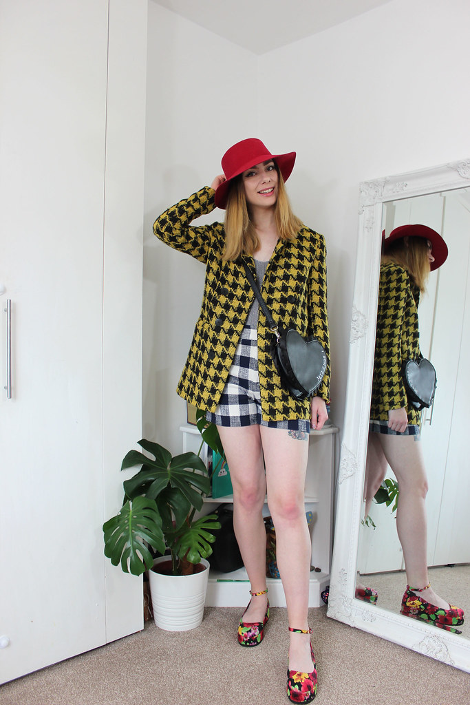 Emily In Paris inspired check with red hat outfit by Chelsea Jade