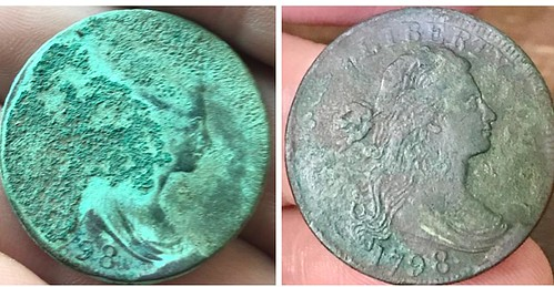 1798 Cent Found in Maine obverse before and after cleaning