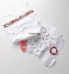 embroidery on paper and lace cloth, a cover for an artist book in progress.