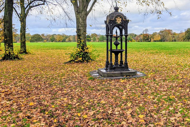 Victorian fountain in an Autumn Haslam Park
