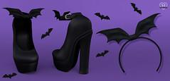 New - Bat Heels & Headband