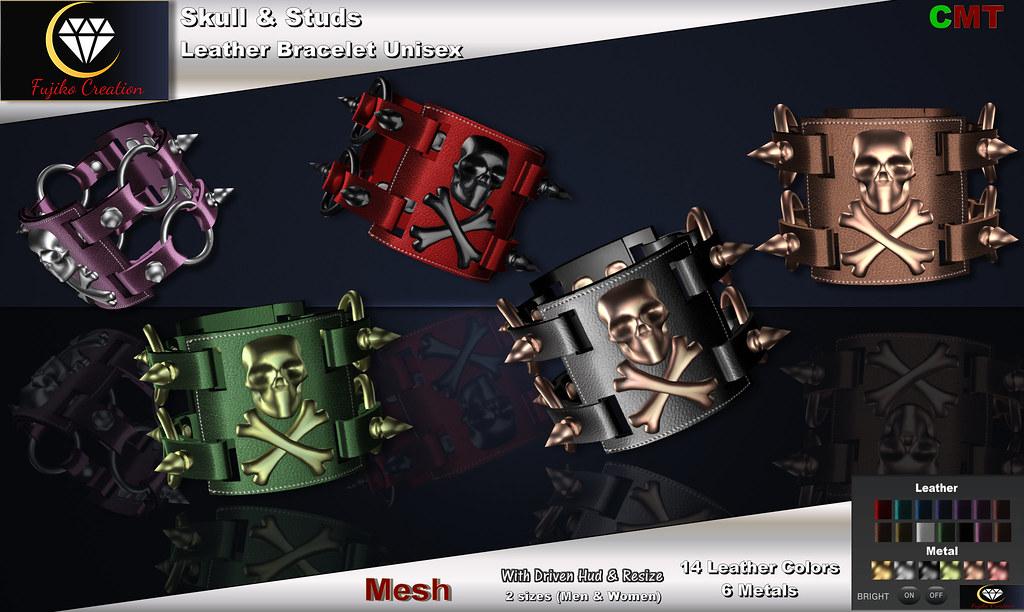 Skull & Stud Bracelet with hud