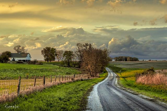 Near Sunset On Bluegrass Road, Morgan County, Illinois