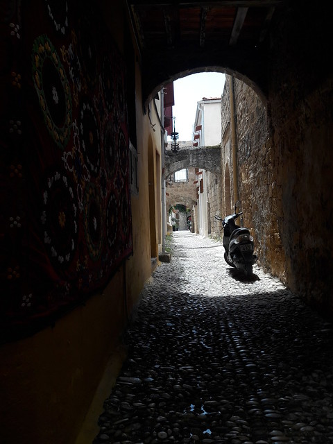 Alone in the ancient  alley