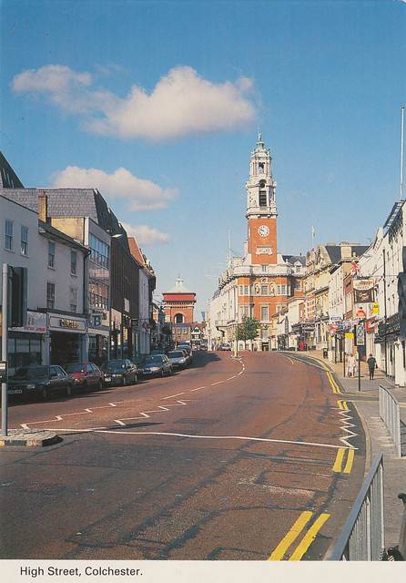 High Street, Colchester old postcard 1990s
