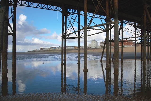 Reflections under the pier at Blackpool