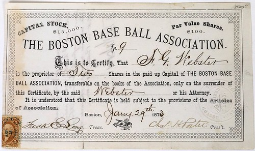 Boston Base Ball Association Stock Certificate