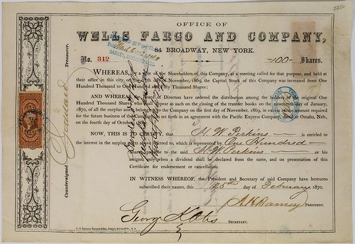 Wells Fargo and Company Stock Certificate