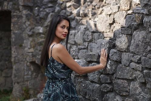 Lady Esmeralda,  ruins of medieval castle Montaigle