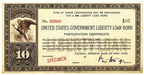 $10 Liberty Loan Bond Participation Certificate