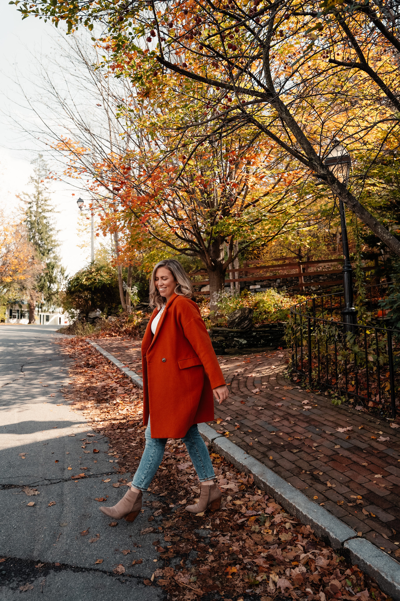 Casual Fall Outfit Inspiration with Orange Coat, Tan Booties and Straight Leg Jeans | Fall Foliage Outfit | What to Wear in Vermont in the Fall | Vermont Packing List for Fall | What to Wear in Vermont in October | What to Wear on a Fall Vacation | Fall Outfits