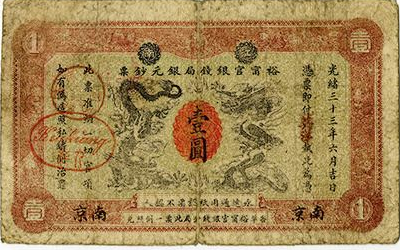 1907 China One Silver Dollar Local Currency