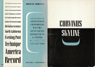 Corvinus Skyline typeface specimen brochure issued by Soldans Ltd., London
