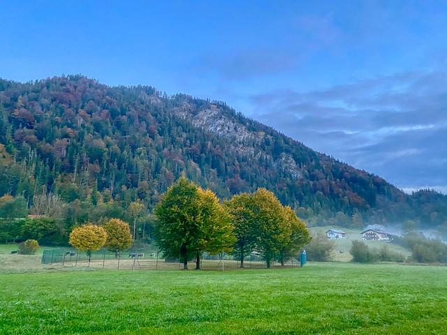 Early morning autumn mist in Mühlau near Kiefersfelden in Bavaria, Germany