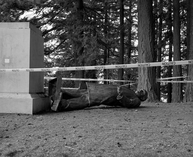 Toppled Statue of Harvey Scott, Portland