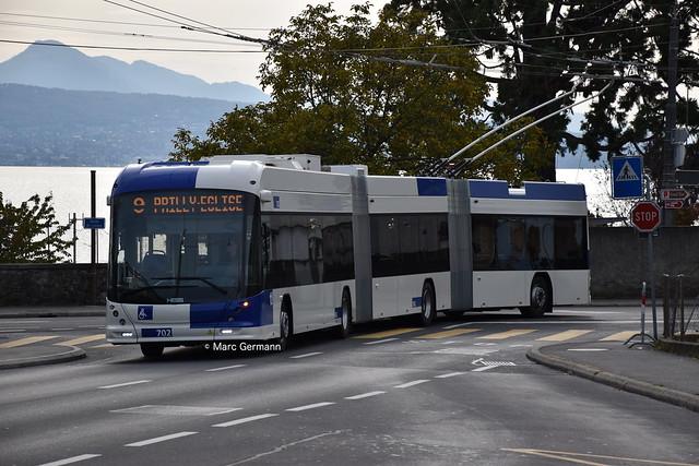 Trolleybus Hess/Kiepe BGGT-N2D n°702 en service sur la ligne 9. © Marc Germann