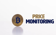 Bitcoin coin with Price Monitoring text